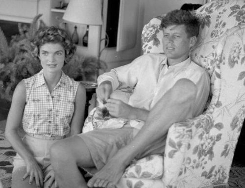 Senator Kennedy with his fiancee Jackie Bouvier