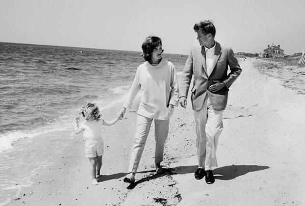 Even on the beach JFK wore a suit!