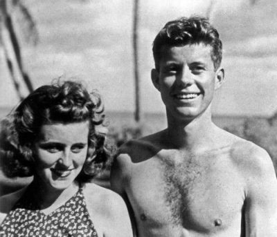 "Kathleen ""Kick"" Kennedy with John F. Kennedy"