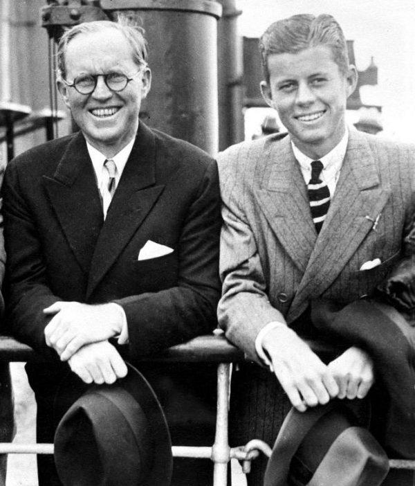 PC 79   Joseph P. Kennedy Jr., Joseph P. Kennedy Sr., John F. Kennedy. Arrival at Southampton, England 02 July 1938. Photograph in the John Fitzgerald Kennedy Library, Boston.