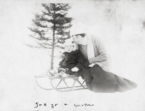 Rose and Joe Jr. sledding, circa 1916 – 1917