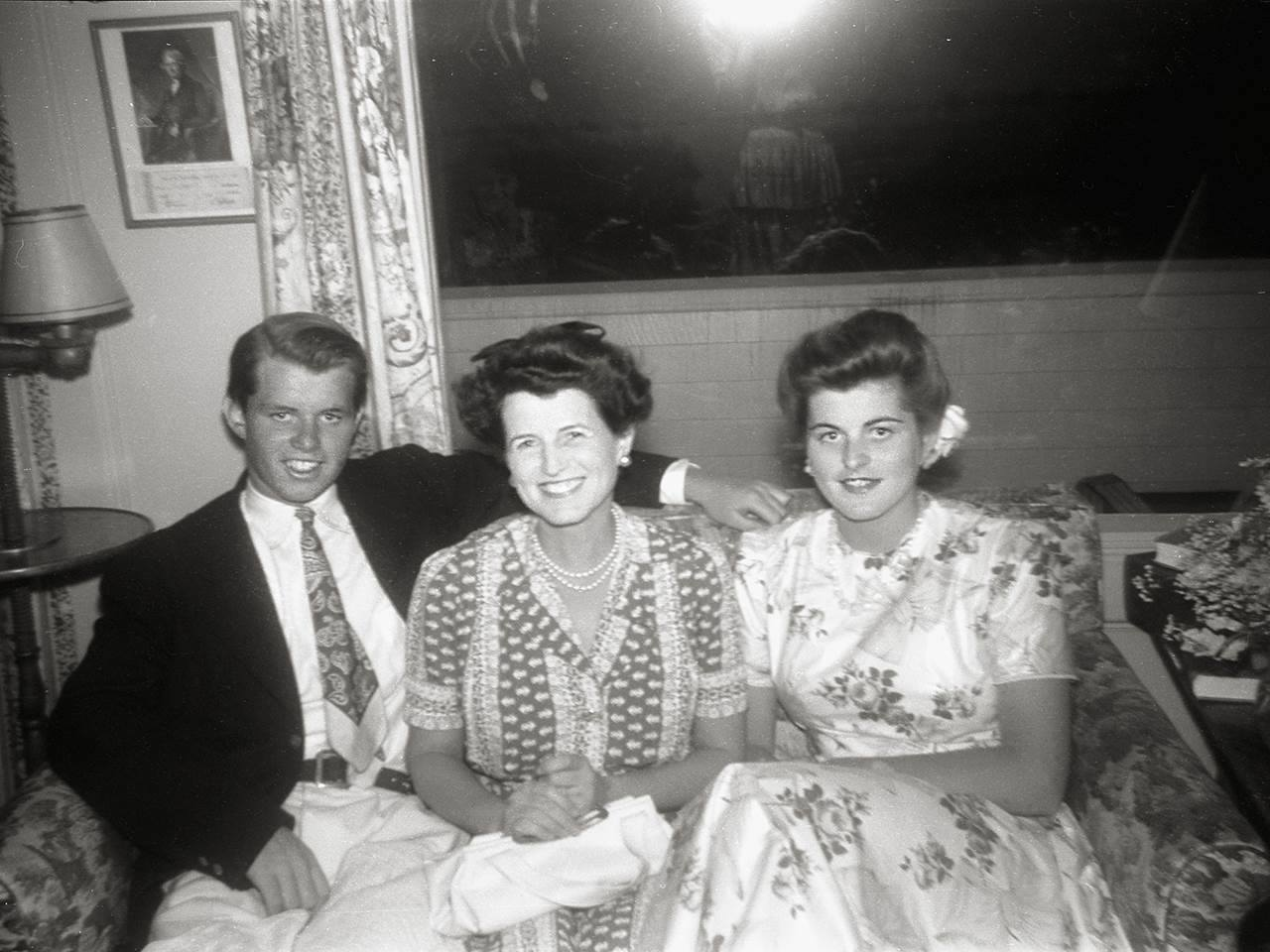 Bobby, Rose, and Pat at the Kennedy home in Hyannis Port, Mass., circa 1942